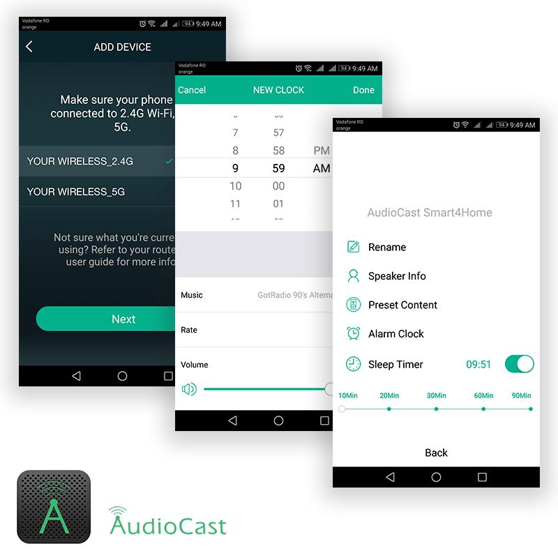 Audiocast-M5 Wireless Meniu aplicatie