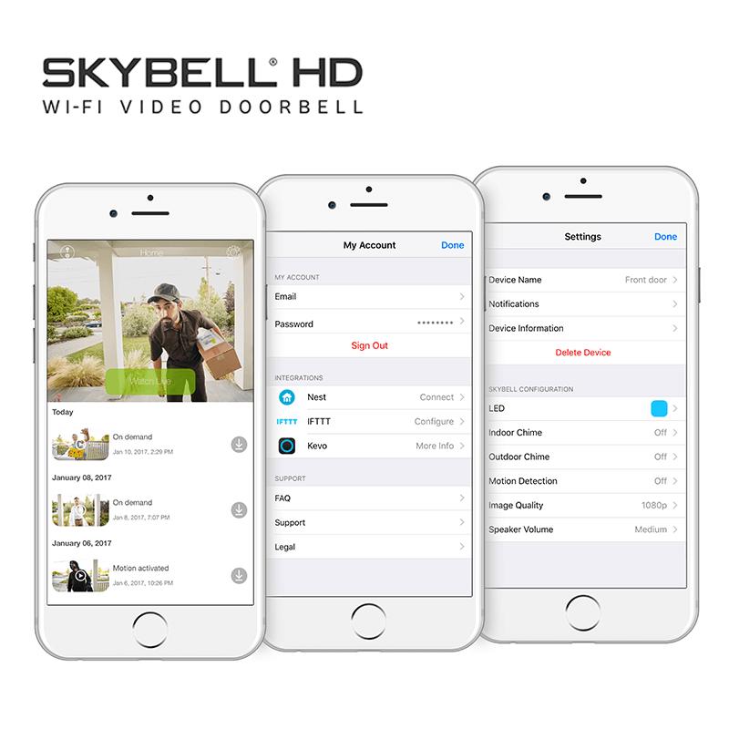 Interfata aplicatie SkyBell IOS/Andorid